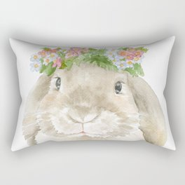 Lop Rabbit Floral Wreath Watercolor Painting Rectangular Pillow