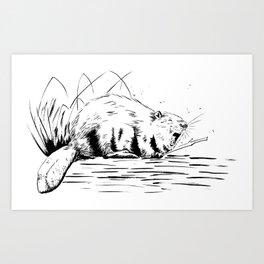 Beaver Yawn Art Print