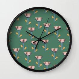 Folksy Floral Pattern in Green Wall Clock