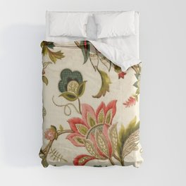 Jacobean Floral Crewel Embroidery Pattern Digital Art Vector Painting Comforters