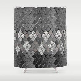 Mermaid Scales Silver Gray Glitter Glam #1 #shiny #decor #art #society6 Shower Curtain