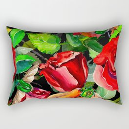 Green Rose Chafer Beetles Amidst the Garden Rectangular Pillow
