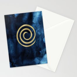 Infinity Navy Blue And Gold Abstract Modern Art Painting Stationery Cards