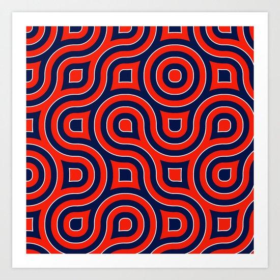 Red Deep blue spirale Art Print
