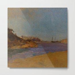 "Odilon Redon ""Fishing Village, Brittany"" Metal Print"