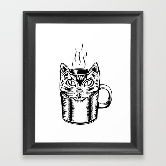 Coffee Cat Framed Art Print