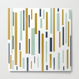 Interrupted Lines Mid-Century Modern Minimalist Pattern in Blue, Mint, and Golden Mustard Metal Print