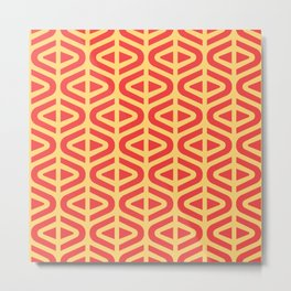 Mid Century Modern Split Triangle Pattern Red and Yellow Metal Print