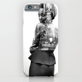 Double Exposure of woman and New York iPhone Case