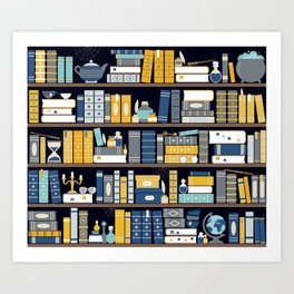 Book Case Pattern - Blue Yellow Art Print
