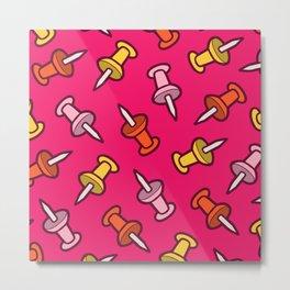 Map Tacks Pattern in Pink Metal Print