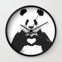 bear Wall Clocks featuring All you need is love by Balazs Solti