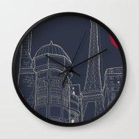 blueprint Wall Clocks featuring Paris Blueprint by ralexandertrejo