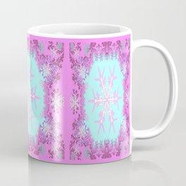 Decorative Pink Winter Snowflakes Abstract Art Coffee Mug