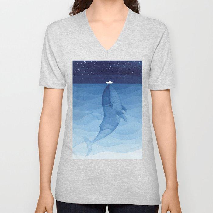 Whale blue ocean Unisex V-Neck