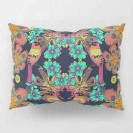 Ave de la Soledad - bird, botanical, garden, lush, exotic, floral, flower, colorful, forest, tropic Pillow Sham