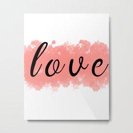 Powder Pink Bedroom Decor, Set of 3 Bedroom Art, Prints Pink Girls Poster, Bedroom Prints, akvarel prints bedroom, decor lettering LOVE Metal Print