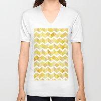 herringbone V-neck T-shirts featuring Gold herringbone by S.am