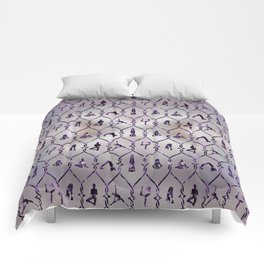 Amethyst Yoga Asanas pattern on mother of pearl Comforters