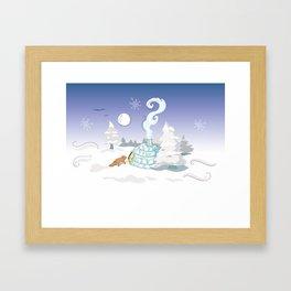 Winter Time Fox Framed Art Print