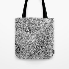 Grey and white swirls doodles Tote Bag