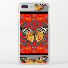 ORANGE-RED POPPY TIGER BUTTERFLIES Clear iPhone Case