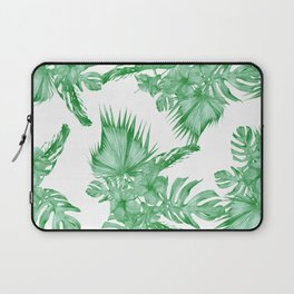 Palm Leaves and Hibiscus Tropical Green Laptop Sleeve