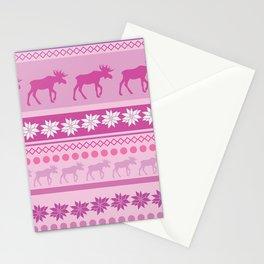 Moose Pink Pattern Stationery Cards