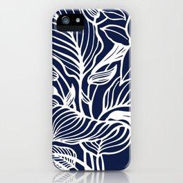 Navy Blue Floral Minimal iPhone Case
