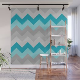 Teal Turquoise Blue Grey Gray Chevron Ombre Fade Wall Mural