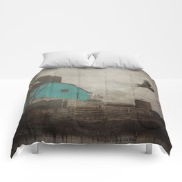 Rustic Teal Barn Country Art A158 Comforters