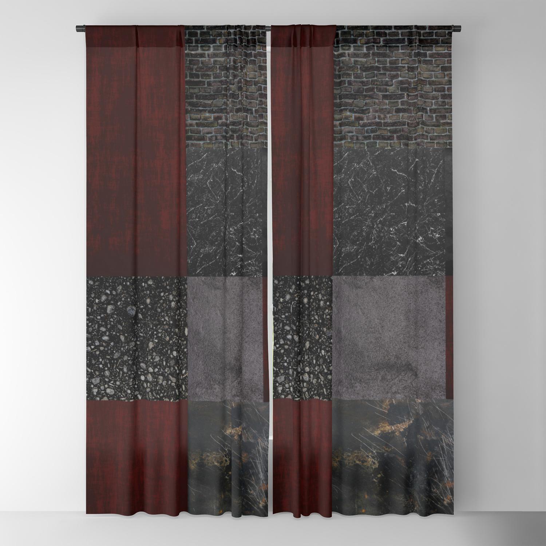 Patchwork Burgundy Black Blackout Curtain By Quinnhopp Society6
