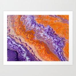 Clemson Orange and Purple Paint Pour Effect Art Print