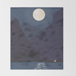 The Mountains At Night Throw Blanket