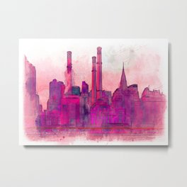 Manhatten Heating Station RED - SKETCH Metal Print
