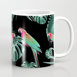 Parrots in the Tropical Jungle Night #1 #tropical #decor #art #society6 Coffee Mug