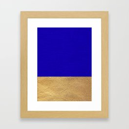 Color Blocked Gold & Cerulean Framed Art Print