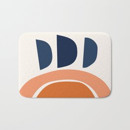 Abstract Shapes 22 in Burnt Orange and Navy Blue Bath Mat