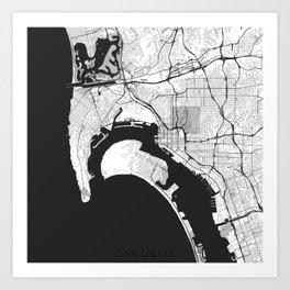 San Diego Map Gray Art Print