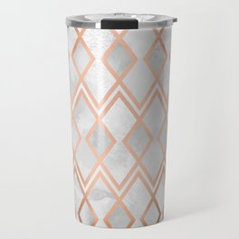 Copper & White Geo Diamonds Travel Mug