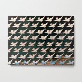 White Doves Dark Sky Pattern Metal Print
