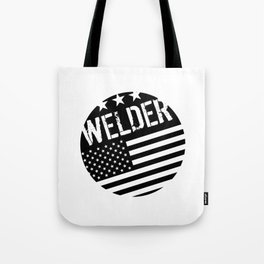 Welder: Black Flag (Circle) Tote Bag