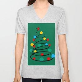 Christmas Tree Minimal Design Art Red Blue Green Unisex V-Neck