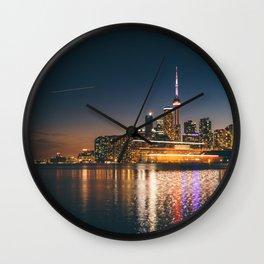 Boat crossing Toronto Skyline Wall Clock