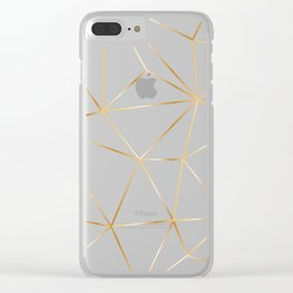 gold polygon on white Clear iPhone Case