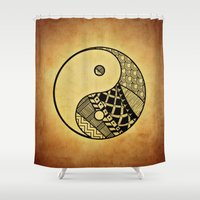 ying yang Shower Curtains featuring Ying Yang by WonderfulDreamPicture