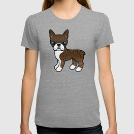 Brindle Boston Terrier Cute Cartoon Illustration T-shirt