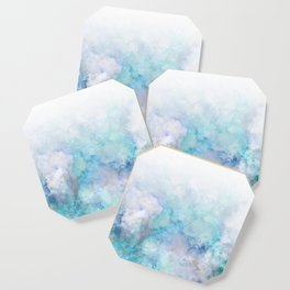 Fresh Blue and Aqua Ombre Frozen Marble Coaster
