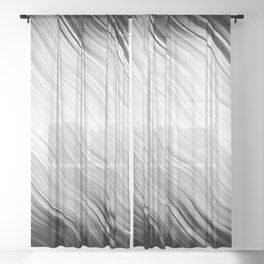Stripes Wave Pattern 10 bw Sheer Curtain