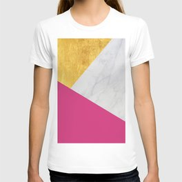 Carrara marble with gold and Pantone Pink Yarrow color T-shirt